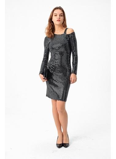 Jument Tek Omuz Uzun Kol Elbise -Siyah Gümüş